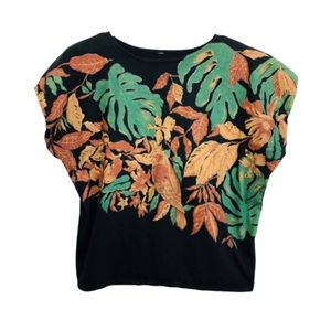 Vintage Cropped TShirt Birds in Paradise Dolman M